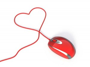 Online dating - computer mouse with heart-shaped cord