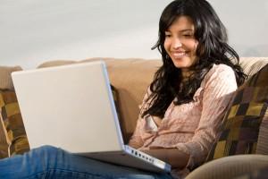 Woman using a laptop computer