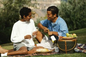 Man and woman on a picnic