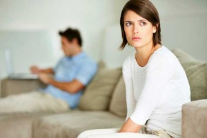 Woman frustrated with boyfriend