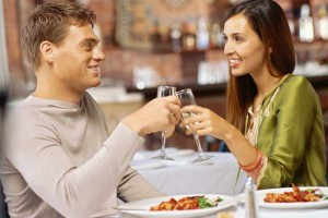Man and woman on a dinner date
