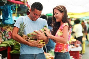 Man and woman at Farmers Market