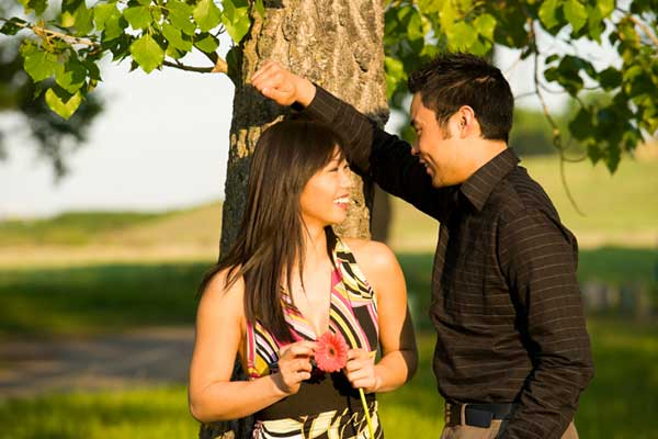 Young Asian couple in the park.